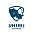 rhinoceros head shield logo design vector image