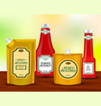sauce bottles packages realistic set vector image