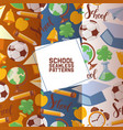 school stationary set seamless patterns vector image