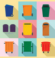 separation recycle bin trash icons set flat style vector image