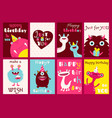 set of birthday banners with cute monsters vector image vector image