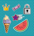 set of fashion patch badges vector image vector image