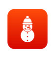 snowman icon digital red vector image vector image