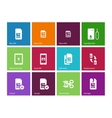 Standard and mini SIM card icons on color vector image
