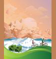 summer alpine cycling vacation vector image vector image