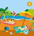 Summer vacation with people on the beach vector image