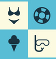 sun icons set collection of dinghy bikini vector image vector image