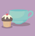 teacup with sweet cupcake vector image