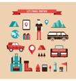Tourism Travel Camping and Hiking Set of flat vector image vector image