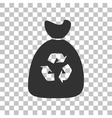 Trash bag icon Dark gray icon on transparent vector image vector image