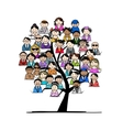 Tree with people icons for your design vector image
