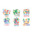 tropical exotic islands logo design crete vector image