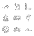 Vacation in forest icons set outline style vector image vector image
