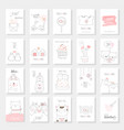 valentines day card set with hand drawn style vector image vector image