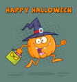 witch pumpkin cartoon character running vector image vector image