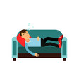 young man sleeping on the sofa relaxing person vector image vector image