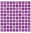 100 audio icons set grunge purple vector image vector image