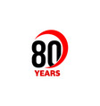80th anniversary abstract logo eighty vector image vector image