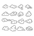 abstract clouds signs black thin line icon set vector image vector image