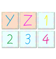alphabets and numbers set 5 vector image