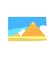 ancient egyptian pyramids in desert blue sky and vector image