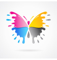 butterfly colored cmyk print splash vector image vector image