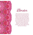 card with mandala border card or invitation red vector image vector image