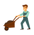 cartoon man in overalls with garden wheelbarrow vector image vector image