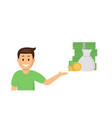 cartoon young man pointing at money vector image