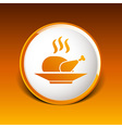 chicken grill icon logo hot meal cooking vector image