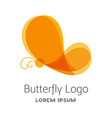 colorful orange butterfly logo template vector image