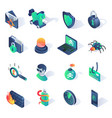 cyber security isometric flat icons vector image vector image