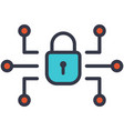 cyber security padlock and networking flat icon vector image