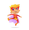 dancing boy wearing colorful costume of superheroe vector image vector image
