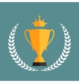 Gold Trophy Cup Winner with a Laurel Wreath and vector image vector image