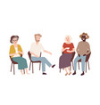 group elderly men and women sitting on chairs vector image vector image