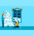 happy family decorating christmas tree vector image