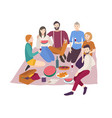 happy friends having dinner outdoor isolated on vector image vector image