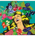 happy woman with berries background vector image vector image