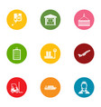 loader staff icons set flat style vector image