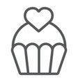 love cake line icon sweet and muffin cupcake vector image vector image