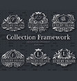 luxury silver label set with logo ornament vector image vector image