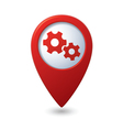 Map pointer with gears icon vector | Price: 1 Credit (USD $1)