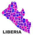 mosaic liberia map of square elements vector image vector image