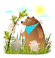 mother bear with cubs in wild forest vector image