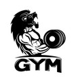 muscular man with a lion head vector image