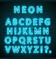 neon font text blue english lamp alphabet vector image vector image