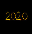 new year 2020 numbers in fire style vector image