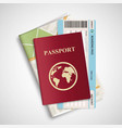 passport with airplane ticket and map travel vector image