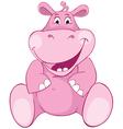 Pink hippopotamus first teeth vector image vector image